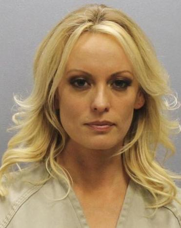 Booking photo of Stormy Daniels. Daniels was arrested at a Columbus, Ohio strip club and is accused of letting patrons touch her in violation of a state law.