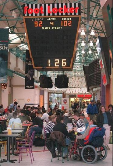 Watertown, 12-10-97 Boston Garden scoreboard hanging above the food court.