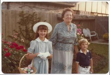 "Warren's ""Aunt Bee"" — Bess Veneck — moved in with the Warren family and helped raise her children. She's pictured here on Easter 1981 with Amelia Warren, 9, and Alex Warren, 4."