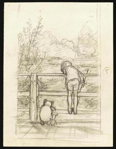 "Above: A pencil drawing titled ""For a long time, they looked at the river beneath them."" Top right: A watercolor of Pooh from 1970."