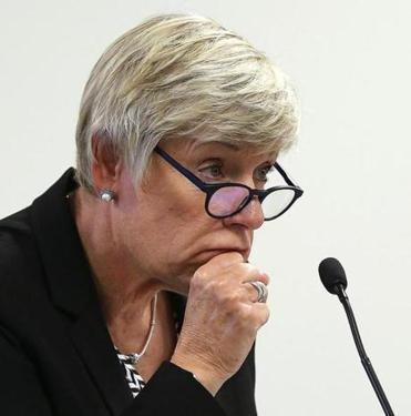 Boston, MA - 9/27/18 - Commissioner Gayle Cameron (cq) has been named interim chair. They listen to a presentation by the Cambridge Health Alliance Division of Addiction (cq). At a later date, the Massachusetts Gaming Commission (cq) will discuss the investigation into Wynn Resorts (cq) and the casino license in southeastern Massachusetts. Photo by Pat Greenhouse/Globe Staff Topic: 28gamingcommission Reporter: Mark Arsenault