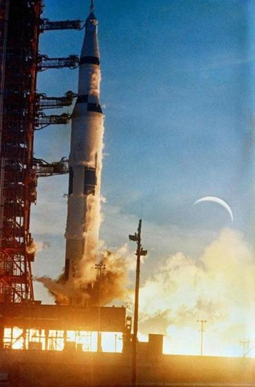 The Apollo 8 space vehicle is launched from the Kennedy Space Center on Dec. 21, 1968. MUST CREDIT: NASA.