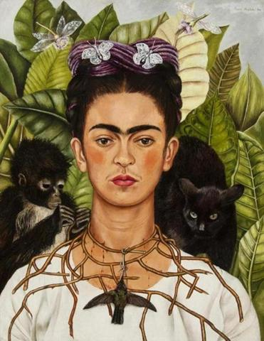 Self-Portrait with Hummingbird and Thorn Frida Kahlo (Mexican, 1907Ð1954) 1940 Oil on masonite *Nickolas Muray Collection of Modern Mexican Art, Harry Ransom Center, The University of Texas at Austin *© 2018 Banco de MŽxico Diego Rivera Frida Kahlo Museums Trust, Mexico, D.F. / Artists Rights Society (ARS), New York.Ê *Courtesy, Museum of Fine Arts, Boston