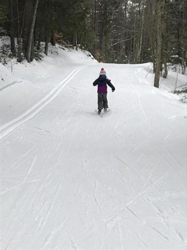 "The author's daughter exclaimed ""Wee, this is fun!"" as she coasted along tracks among trees."