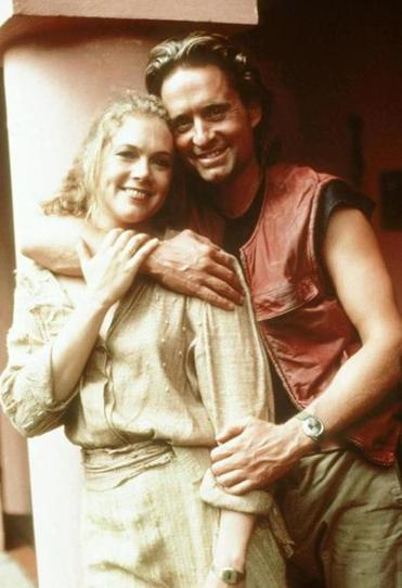 "Kathleen Turner and Michael Douglas first costarred in the 1984 adventure film ""Romancing the Stone."""