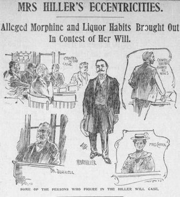 Image depicts key figures in the court wrangling over France B. Hiller's will. Among them is Henry Hiller II, her coachman whom she married, with the agreement that he would take the same name as her late husband, Dr. Henry Hiller. This was on the front page of the Boston Globe in September 1900.