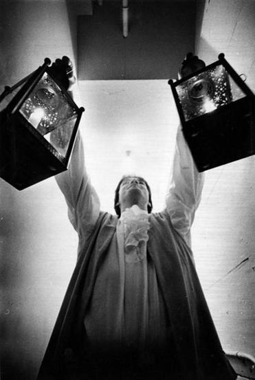 Boston, MA - 4/15/1978: Roger Scott Conant, retracing ancestor's foot steps, puts lanterns in the steeple of Old North Church in Boston on April 15, 1978. (Stan Grossfeld/Globe Staff) --- BGPA Reference: 160311_MJ_008