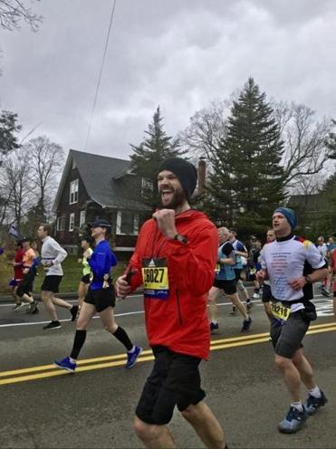 Actor Jared Padalecki runs the 2019 Boston Marathon. (Adrianna Rosadio) 16names