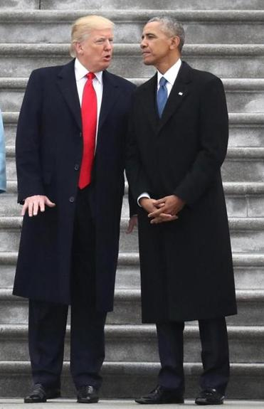 President Donald Trump and former president Barack Obama on the steps of the US Capitol on Trump's inauguration day in 2017.