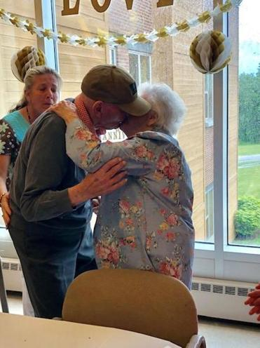 Jim and Jo kissed in front of their family and friends at their 72nd anniversary party Sunday.