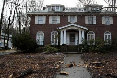 The home on Clinton Road in Brookline where two elderly sisters, Lynda and Sheryl Waldman, lived.