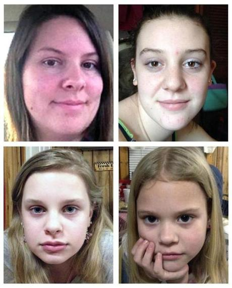Authorities believe 35-year-old Adam Mayes abducted Jo Ann Bain (clockwise from top left) and her daughters, Adrienne, 14; Kyliyah, 8; and Alexandria, 12