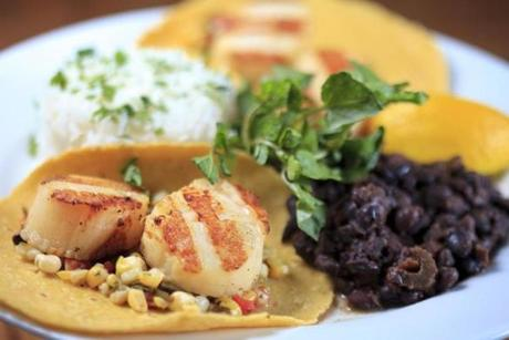 Grilled sea scallop tacos with grilled corn salsa, black beans, and rice.