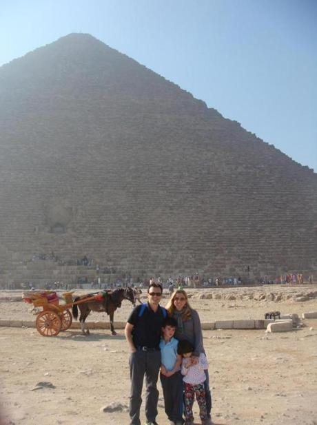The author and her family visiting the Pyramids of Giza, Cairo.