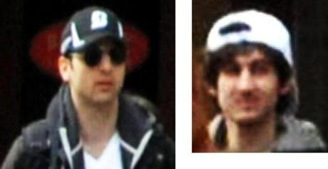 A combination of closeups of the two suspects in the Marathon bombings.