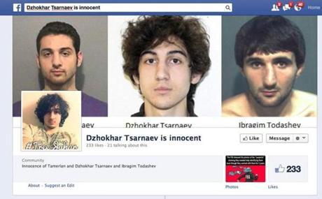 A Facebook page seeking Dzhokhar Tsarnaev's release.