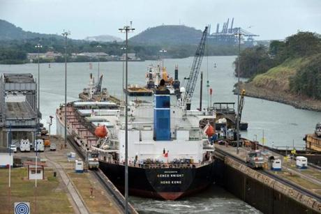 A ship passed through the canal's locks.