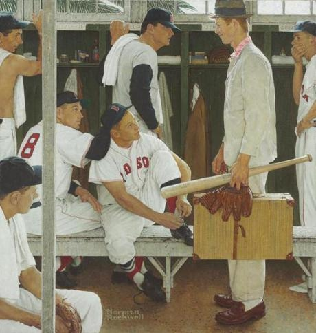 "ADDS CURTIS LICENSING AS THE SOURCE - This photo provided by Curtis Licensing via Christie's auction house in New York shows Norman Rockwell's 1957 painting, ""The Rookie (Red Sox Locker Room)."" The painting, showing, pitcher Frank Sullivan, right fielder Jackie Jensen and catcher Sammy White, second baseman Billy Goodman and Hall of Famer Ted Williams, will be auctioned by Christie's on May 22, with a pre-sale estimate of $20 million to $30 million. (AP Photo/Curtis Licensing) MANDATORY CREDIT"