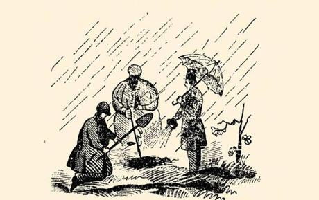 An image from a 1848 pamphlet on the life and adventures of Francis Tukey shows detectives recovering stolen money from the Public Garden.