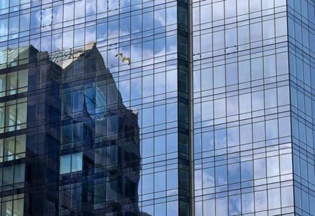 BOSTON, MA - 7/20/2016: Glass reflection like the John Hancock Tower... Millennium Tower Boston, downtown crossing at Summer and Washington streets.... an architecture review (David L Ryan/Globe Staff Photo) SECTION: ARTS TOPIC 17Tower