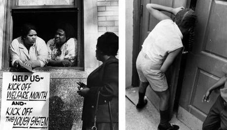 Boston, MA - 6/2/1967: Mothers participating in the sit-in lean through the window of the welfare office in Grove Hall to talk to picketers outside on June 2, 1967 in Boston. (William Ryerson/Globe Staff) --- BGPA Reference: 140908_MJ_006 Boston, MA - 6/2/1967: A child peaks into the door of the welfare office in Grove Hall during a sit-in in Boston on June 2, 1967. (Charles B. Carey/Globe Staff) --- BGPA Reference: 140908_MJ_007 Charles B. Carey/Globe Staff