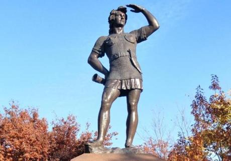 24vikings - A statue of Leif Erikson gazes out from Boston's Commonwealth Mall. (Christopher Klein for the Boston Globe)
