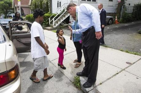 Boston , MA - 6/19/2017 - Boston Mayor Marty Walsh greets passersby who stopped to take a picture with him in Boston , MA, June 19, 2017. (Keith Bedford/Globe Staff)