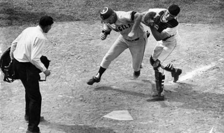 Boston, MA - 7/27/1967: California Angels player Don Mincher is tagged out by Boston Red Sox catcher Russ Gibson during a game at Fenway Park on July 27, 1967. (Tom Landers/Globe Staff) --- BGPA Reference: 170216_MJ_010