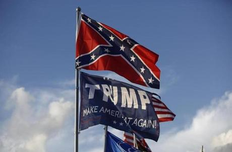 Bristol, TN -- 8/18/2017 - A Trump flag flew below the confederate flag over the Peary's RV in Earhart Campground, a private campground adjacent to the Speedway. (Jessica Rinaldi/Globe Staff) Topic: 21NASCAR Reporter: Annie Linskey