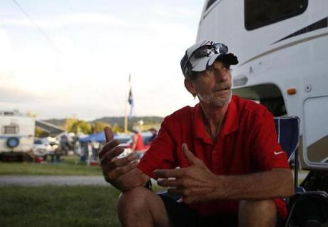 "Bristol, TN -- 8/17/2017 - Miller ""Bud"" Fulton spoke about the direction the country was headed at his camp outside of the Bristol Motor Speedway. (Jessica Rinaldi/Globe Staff) Topic: 21NASCAR Reporter: Annie Linskey"