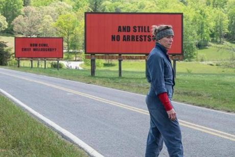 Three Billboards Day 04_118.dngFrances McDormand in the 2017 film THREE BILLBOARDS OUTSIDE EBBING, MISSOURI, directed by Martin McDonagh.