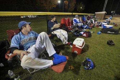 4:21 a.m.: Nick Rotolo (left) takes a break in the 65th inning.