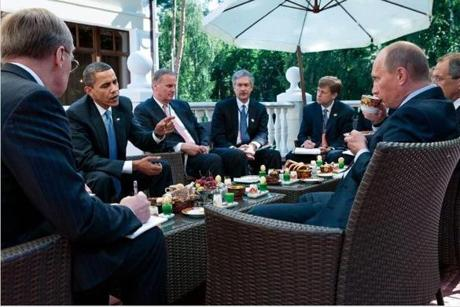 President Obama meeting with Vladimir Putin at Putin's dacha outside Moscow in July 2009.