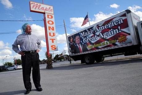 Charlie Burnside, owner of Maple Donuts in York, was proud to show off his support for Donald Trump with a sign on one of his trucks.