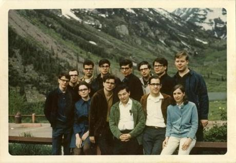 Albin Ifsich (standing third from left,) John Gidwitz, (standing sixth from left,) and Lynn Harrell, (standing far right,) on a 1969 group trip with other members of the University Circle Orchestra.