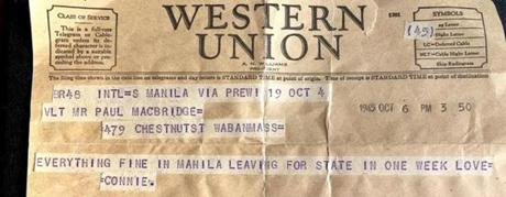 A telegram announcing Constance MacBride's scheduled return to the United States.