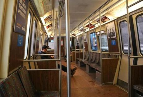 There was plenty of room on the MBTA's Orange Line heading into downtown Boston during the storm.