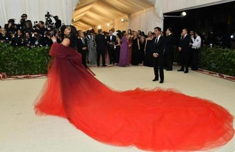 Nicki Minaj arrives for the 2018 Met Gala on May 7, 2018, at the Metropolitan Museum of Art in New York. The Gala raises money for the Metropolitan Museum of Artââ¬â¢s Costume Institute. The Gala's 2018 theme is ââ¬ÅHeavenly Bodies: Fashion and the Catholic Imagination.ââ¬ï¿½ / AFP PHOTO / Angela WEISSANGELA WEISS/AFP/Getty Images