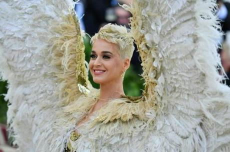 Katy Perry arrives for the 2018 Met Gala on May 7, 2018, at the Metropolitan Museum of Art in New York. The Gala raises money for the Metropolitan Museum of Arts Costume Institute. The Gala's 2018 theme is Heavenly Bodies: Fashion and the Catholic Imagination. / AFP PHOTO / Angela WEISSANGELA WEISS/AFP/Getty Images