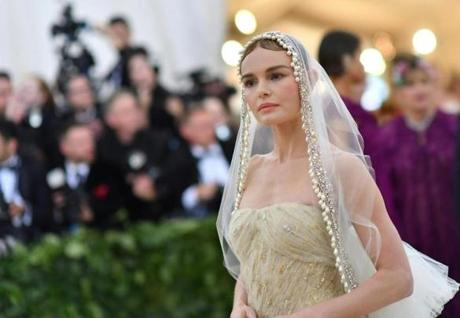 Kate Bosworth arrives for the 2018 Met Gala on May 7, 2018, at the Metropolitan Museum of Art in New York. The Gala raises money for the Metropolitan Museum of Arts Costume Institute. The Gala's 2018 theme is Heavenly Bodies: Fashion and the Catholic Imagination. / AFP PHOTO / Angela WEISSANGELA WEISS/AFP/Getty Images