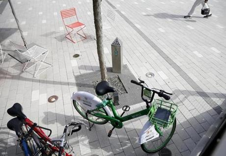 An Ant Bicycle parked near Cambridge Brewing Company is seen in Kendall Square.