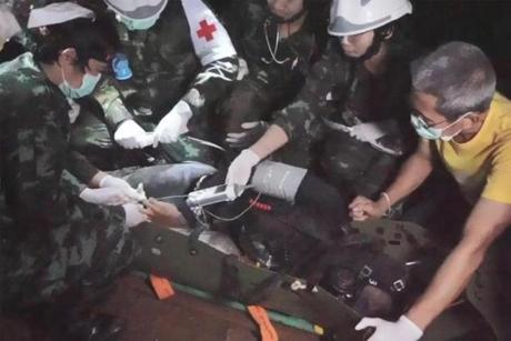 "This handout video grab taken from footage released by the Royal Thai Navy on July 11, 2018 shows a member of the ""Wild Boars"" Thai youth football team being moved on a stretcher during a rescue operation inside the Tham Luang cave in Khun Nam Nang Non Forest Park in Mae Sai district. The 12 boys rescued from a Thai cave were passed ""sleeping"" on stretchers through the treacherous passageways, a former Thai Navy SEAL told AFP on July 11, giving the first clear details of an astonishing rescue mission that has captivated the world. / AFP PHOTO / ROYAL THAI NAVY / Handout / RESTRICTED TO EDITORIAL USE - MANDATORY CREDIT ""AFP PHOTO / Royal Thai Navy "" - NO MARKETING NO ADVERTISING CAMPAIGNS - DISTRIBUTED AS A SERVICE TO CLIENTSHANDOUT/AFP/Getty Images"