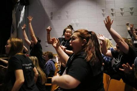 Hamilton, MA -- 3/08/2018 - Deb (C) and the rest of the members of Stage One reacted as their play was selected to advance to finals during semi-finals at Hamilton-Wenham Regional High School. (Jessica Rinaldi/Globe Staff) Topic: Reporter: Jenna Russell