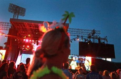 Boston, MA: 8-9-18: Jimmy Buffett performed at Fenway Park tonight. Fans were dressed for the occasion inside the park. (Jim Davis/Globe Staff)