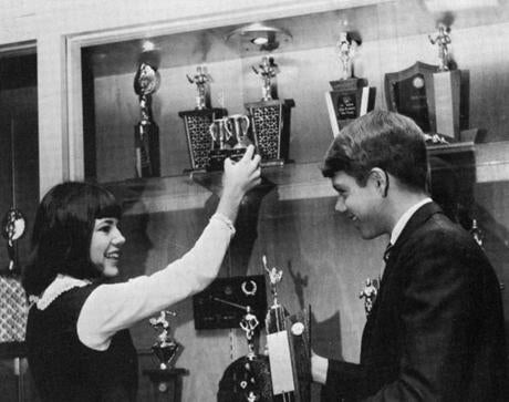 Warren, pictured in 1966 with her debate partner, Karl Johnson, was a star on the Northwest Classen High School debate team in Oklahoma City.