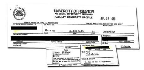 "At the University of Houston, where she was on the law faculty, Warren checked the ethnicity box for ""other"" — but ""white"" was not an option for her to pick."