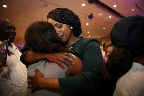 Ayanna Pressley greeted supporters after she became the Democratic candidate for the Massachusetts 7th Congressional District on Sept. 4.