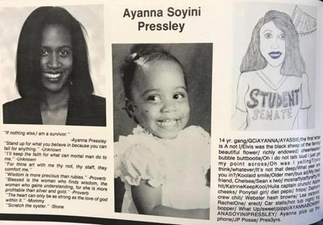 Ayanna Pressley in her Francis W. Parker School yearbook in Chicago