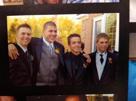 Aaron Hernandez yearbook photo. Ryan McDonnell third from left (Handout)