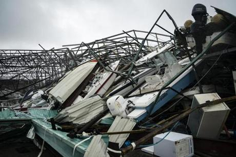 Hurricane Michael turned a warehouse of boats at Treasure Island Marina in Panama City Beach, Fla., into a pile of debris.
